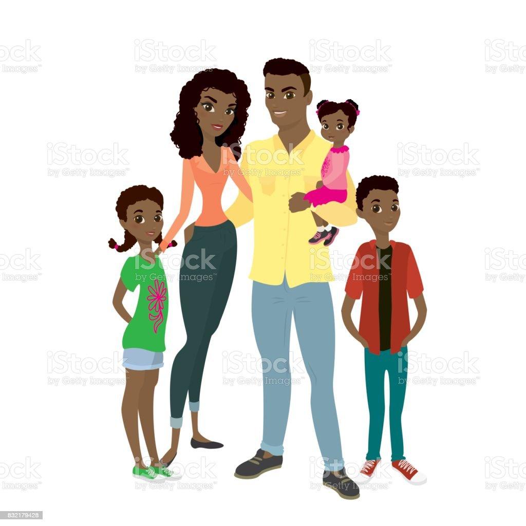 African American family. vector art illustration