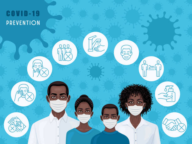 African American Family wearing medical face masks. Covid-19 Prevention. vector art illustration