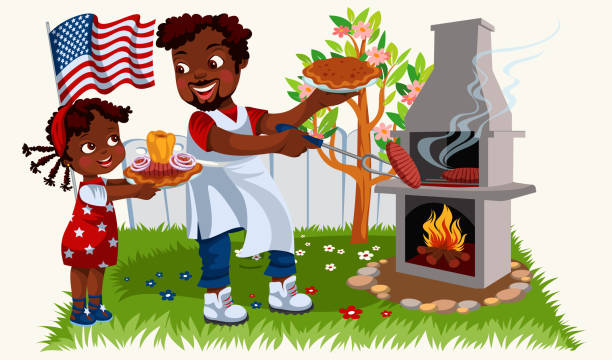African american father in festive mood having lunch in nature vector art illustration