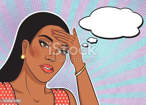 Stressed sad african american woman with hand on her forehead with thinking cloud for your text