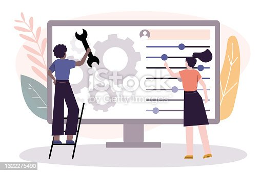 istock African American female user customize settings on monitor. Computer screen with users personal page. User interface customization, creating 1322275490