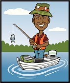 Great illustration of an African American Fisherman. Head and hat are on separate layers so you can replace the head with your own image. EPS and JPEG files included. Be sure to view my other illustrations, thanks!