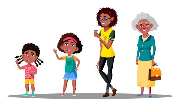 ilustraciones, imágenes clip art, dibujos animados e iconos de stock de vector set mujer afroamericana generación. abuela, madre, hija, nieta, bebé. vector. aislados ilustración - nieta