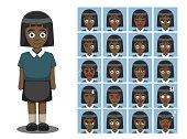 African American Girl Cartoon Emotion faces Vector Illustration
