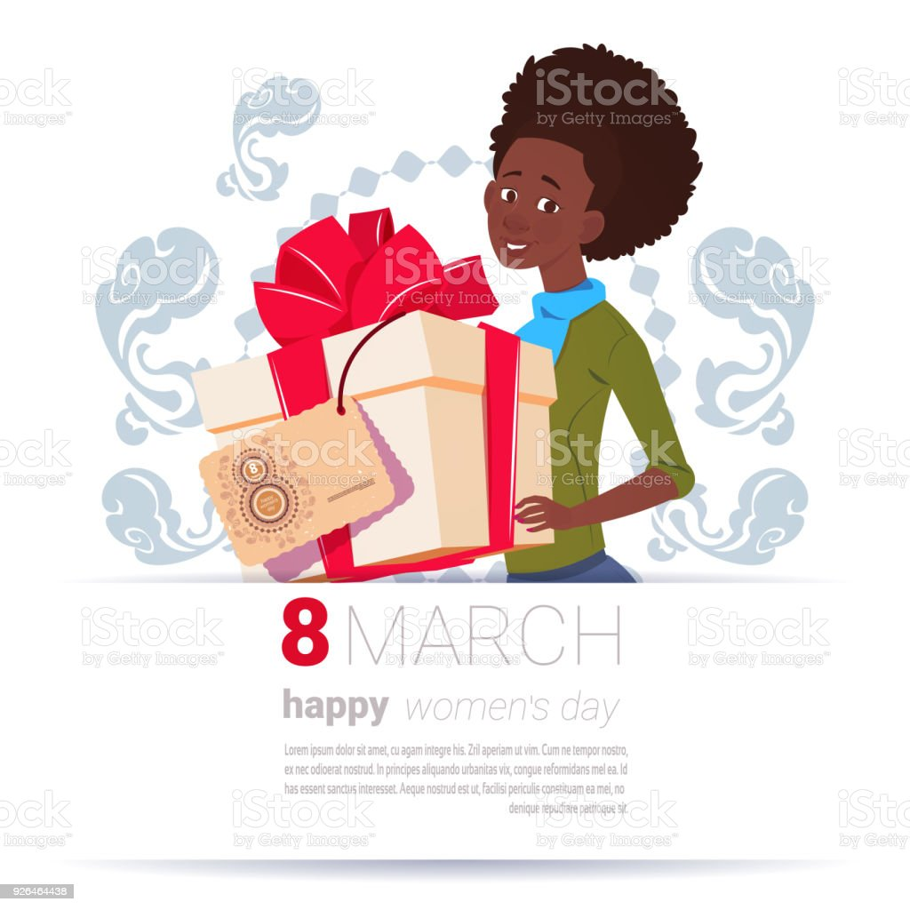 African American Girl Holding Gift Box With 8 March Tag Happy Women