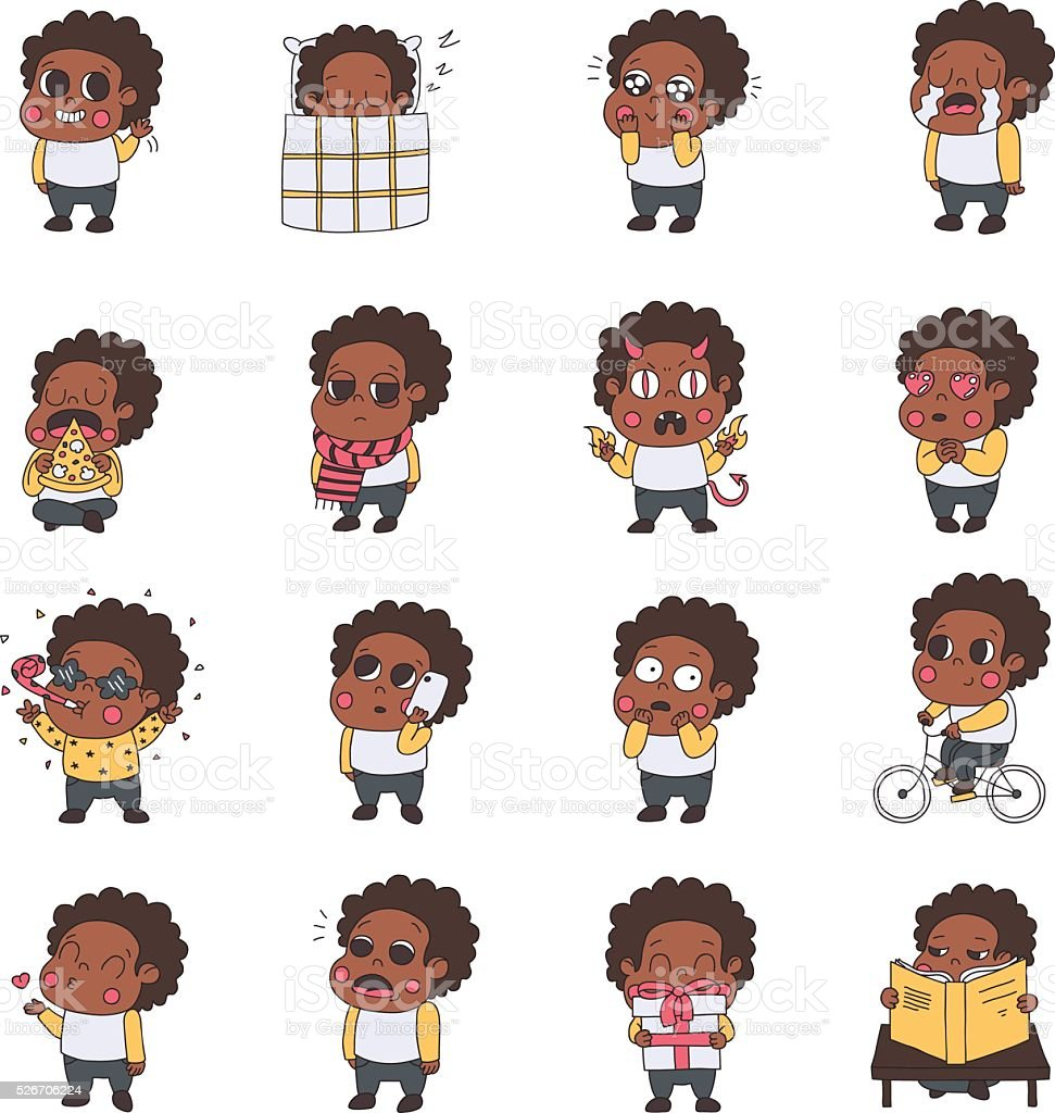 African american girl multicolored stickers (emoji) vector set. vector art illustration