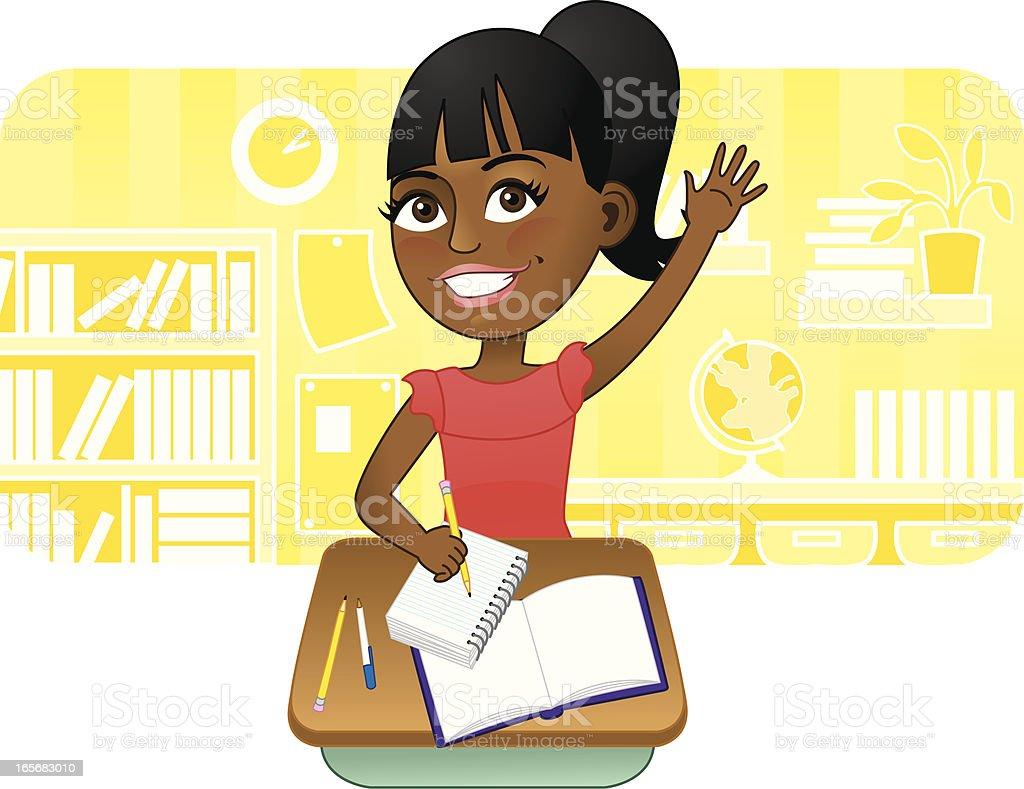 African American girl raising hand in school royalty-free stock vector art