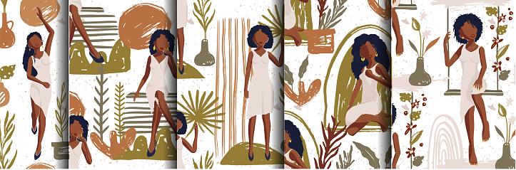 African American Girl Seamless Vector Pattern Set.