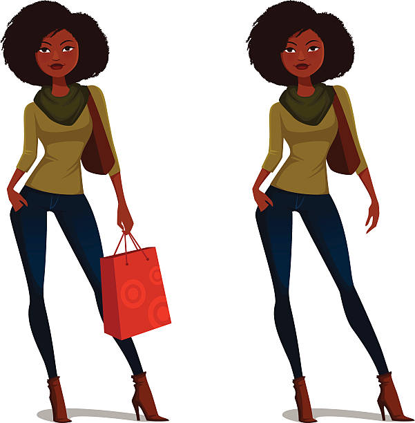 Royalty Free African American Woman Shopping Clip Art ...