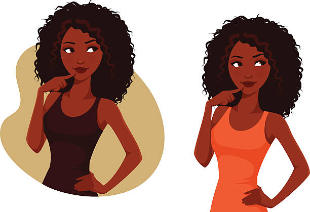 African American girl with natural hair gorgeous African American girl with natural curly hair, looking up curly hair stock illustrations
