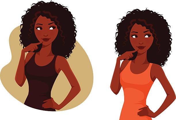 african american girl with natural hair - 捲髮 幅插畫檔、美工圖案、卡通及圖標