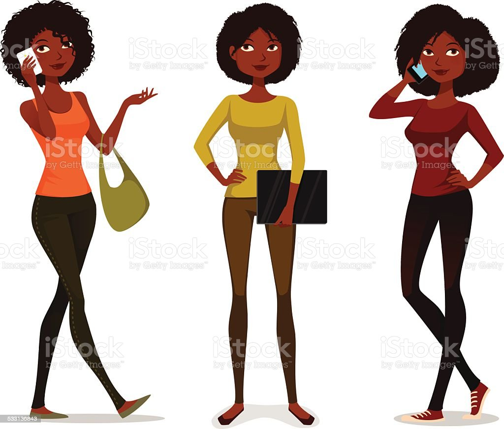 African American girls with mobile phone or laptop vector art illustration