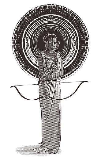 African American Goddess with bow and arrow, wearing classical Grecian dress.