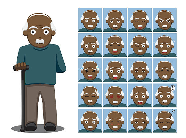 african american grandpa cartoon emotion faces vector illustration - old man crying clip art stock illustrations, clip art, cartoons, & icons