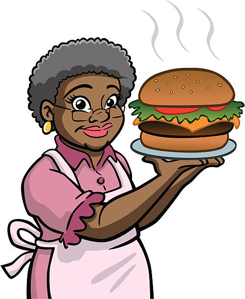 African American Granny Holding Burger vector art illustration
