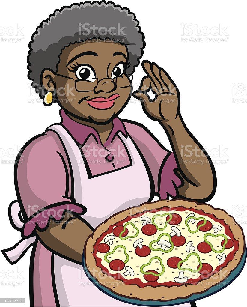 African American Granny retención Pizza ilustración de african american granny retención pizza y más banco de imágenes de abuela libre de derechos