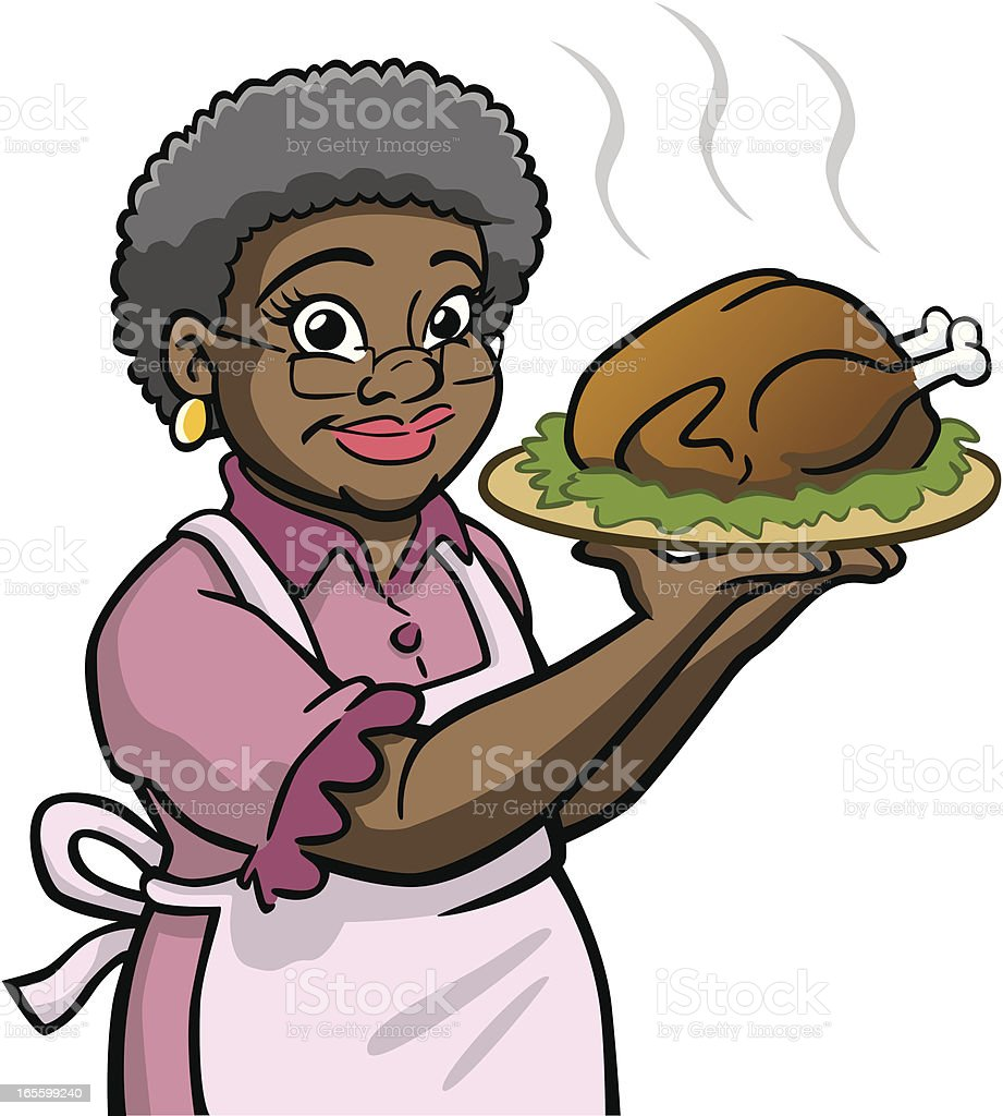 african american granny holding turkey stock vector art 165599240