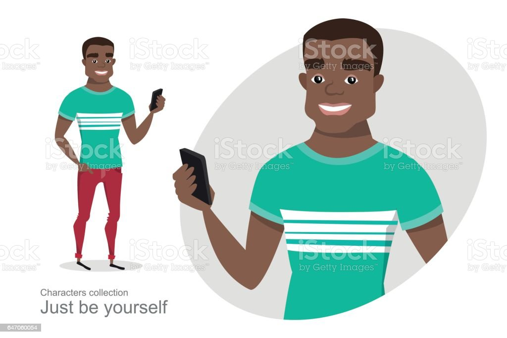 African American guy with a mobile phone in hand. vector art illustration
