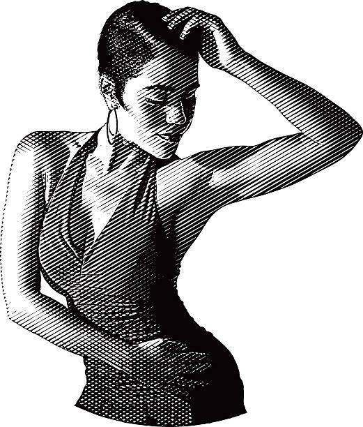 African American, Hispanic Woman Salsa Dancing vector art illustration