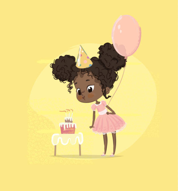 African American Kid Girl Blow Birthday Cake Candle Holding Balloon. Cute Baby Girl Blowing out Birth Party Cupcake. Child Preschool Character in Pink Dress Poster Card Design Flat Cartoon Vector vector art illustration