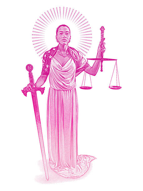 African American Lady Justice with rebellious expression African American Lady Justice with rebellious expression supreme court stock illustrations