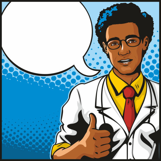 African American Male Doctor Giving Thumbs Up vector art illustration