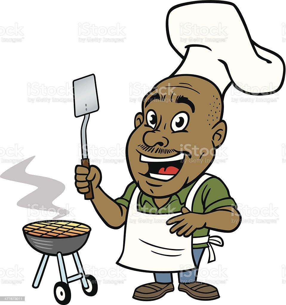 African American Man At BBQ vector art illustration
