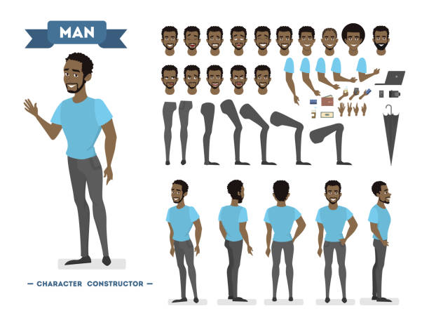 illustrazioni stock, clip art, cartoni animati e icone di tendenza di african american man character set for animation with various views - personaggio fantastico