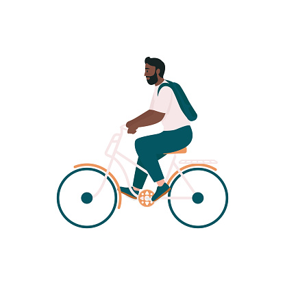 African american man in bicycle flat color vector detailed character