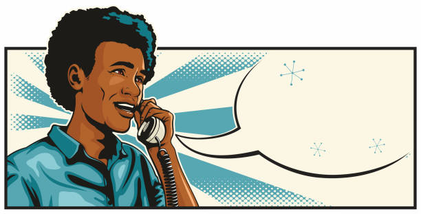 African American Man On The Phone vector art illustration