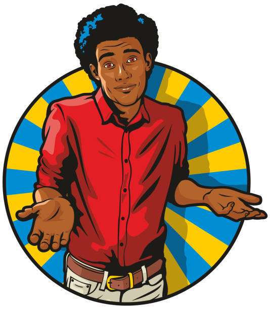 African American Man Shrugging vector art illustration