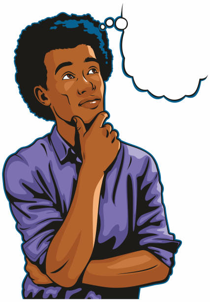African American Man Thinking vector art illustration