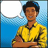 Pop art illustration of a handsome young African American man standing with his arms folded. With empty speech bubble for your text.