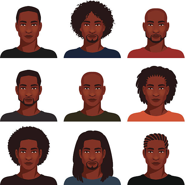African American men with various hairstyle vector art illustration