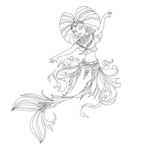 african american mermaid - mermaid tattoos stock illustrations, clip art, cartoons, & icons