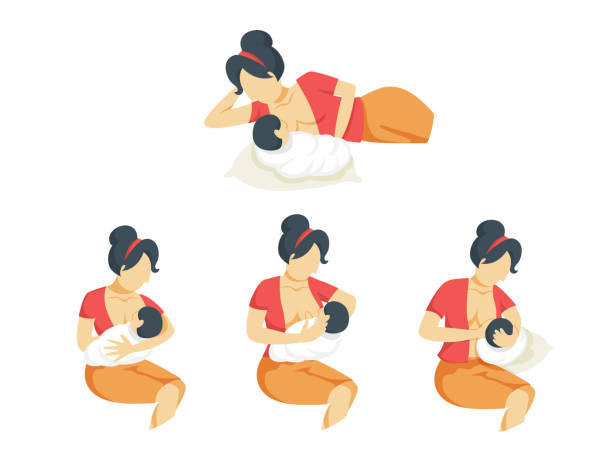 ilustrações de stock, clip art, desenhos animados e ícones de african american mother breastfeeding - amamentação