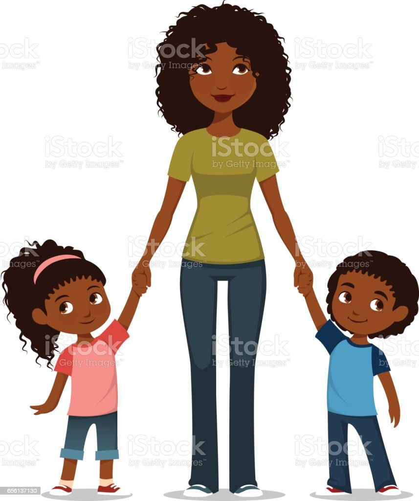 African American mother with two children vector art illustration