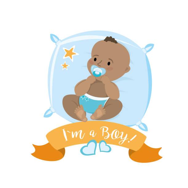 stockillustraties, clipart, cartoons en iconen met african american pasgeboren baby ligt op een kussen - alleen één jongensbaby