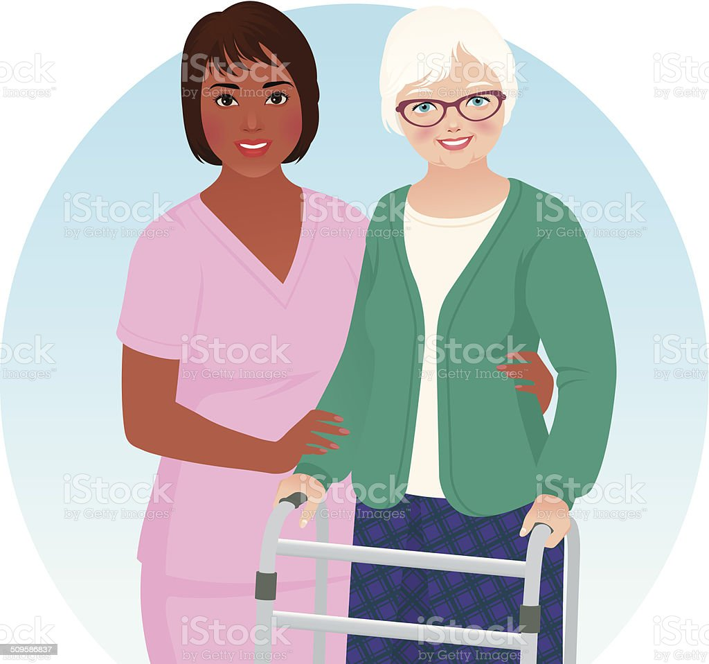 African American nurse and her patient vector art illustration