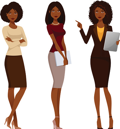 African American office girls in smart casual fashion clipart
