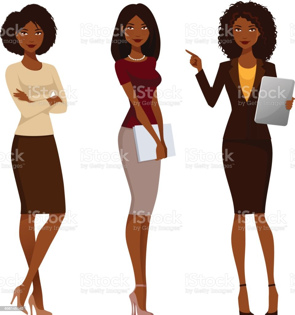 African American office girls in smart casual fashion vector art illustration