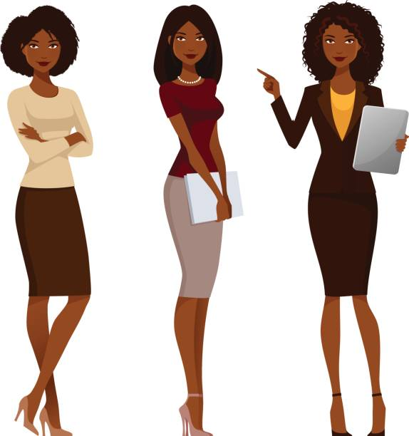 ilustrações de stock, clip art, desenhos animados e ícones de african american office girls in smart casual fashion - business woman