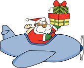 African American Santa Claus Flying With His Christmas Airplane