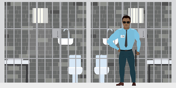 African american security guard near empty prison cell.  Cartoon policeman in uniform. Jail cell staff, prison interior with furniture.
