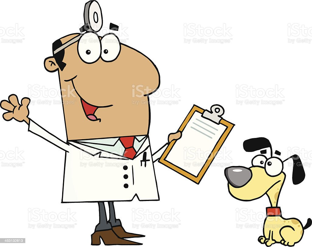 African American Smiling Veterinarian Next to A Dog royalty-free stock vector art