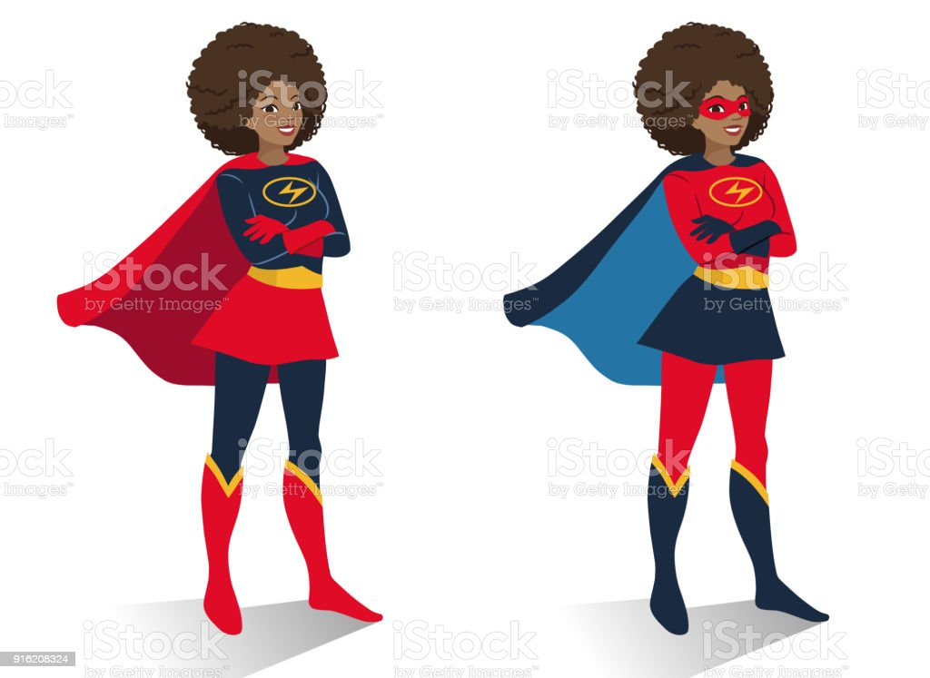 African American superhero woman in  costume and mask standing with crossed arms. Vector cartoon character illustration in flat contemporary style isolated on white background. Women activism concept vector art illustration