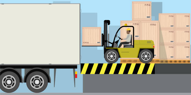 stockillustraties, clipart, cartoons en iconen met african american warehouse worker laden houten kisten in lange vrachtwagen. stapel dozen - warehouse worker