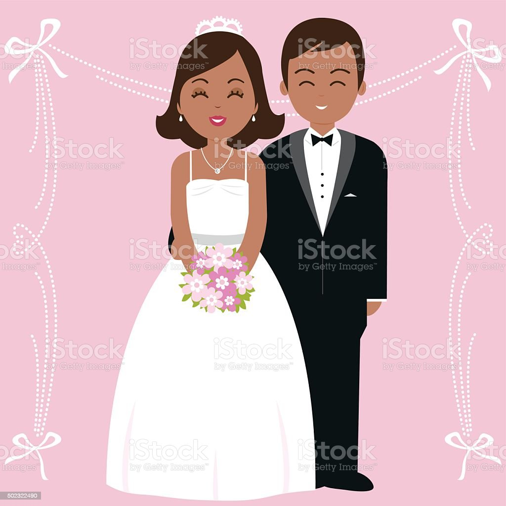 African American wedding couple vector art illustration