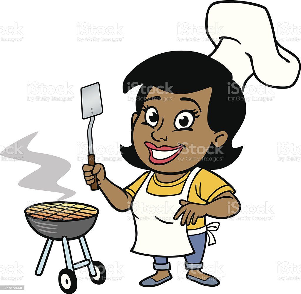 African American Woman At BBQ vector art illustration