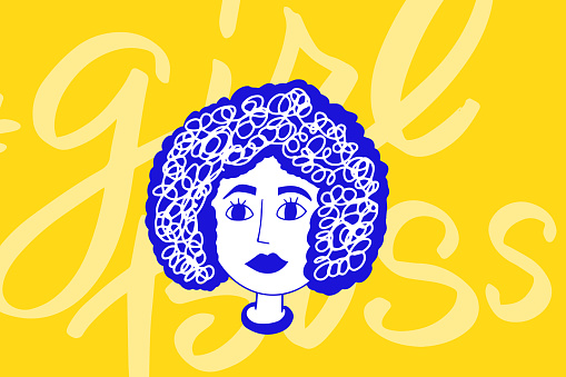 African american woman face, hand drawn logo